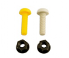 Plastic Nuts and Bolts - White x 2; Yellow x 2.