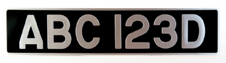 Pressed Black with Brushed Aluminium Digits. 3 1/8 inch digits (Our most popular plate) Pre-1979
